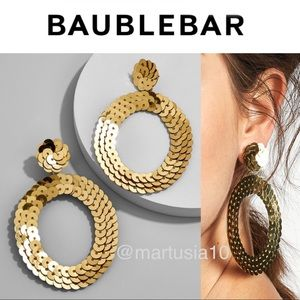 BAUBLEBAR GOLD TWIGGY SEQUIN HOOP EARRINGS